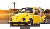 Sarı Vosvos Araba Dekoratif 5 Parça Mdf Tablo