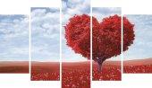 Kalp Ağaç Dekoratif 5 Parça Mdf Tablo