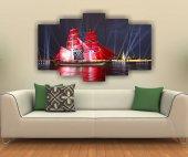 Kırmızı Yelkenli Gemi Dekoratif 5 Parça Mdf Tablo