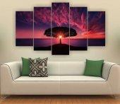 Ağaç Ve Gün Batımı Manzara Dekoratif 5 Parça Mdf Tablo
