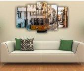 Nostaljik Tramvay Dekoratif 5 Parça Mdf Tablo