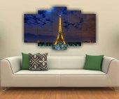 Eyfel Kulesi Paris Manzara Dekoratif 5 Parça Mdf Tablo
