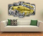 Sarı Klasik Araba Dekoratif 5 Parça Mdf Tablo