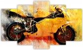 Sarı Motorsiklet Sulu Boya Dekoratif 5 Parça...