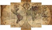Eski Dünya Haritası Dekoratif 5 Parça Mdf Tablo...