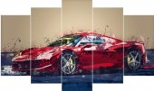 Kırmızı Yarış Arabası Dekoratif 5 Parça Mdf Tablo