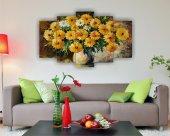 Yağlı Boya Çiçek Dekoratif 5 Parça Mdf Tablo