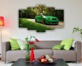 Yeşil Spor Araba Orman Yolu Dekoratif 5 Parça Mdf Tablo