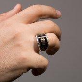 Siyah Oniks Taşlı Selçuklu Kartalı İşlemeli Erkek Gümüş Yüzük-2