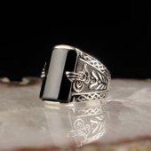 Tuğralı Oniks Taşlı 925 Ayar Gümüş Yüzük