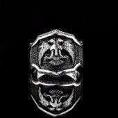 Selçuklu Kartalı Simgeli Zirkon Taşlı Erkek Gümüş Yüzük