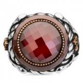 Kılıç Motifli Kırmızı Taşlı Gümüş Erkek Yüzük-2