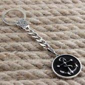 925 Ayar Gümüş Çapa Simgeli Anahtarlık
