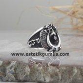 925 Ayar Gümüş Göktürkçe Türk Yazılı Kartal Simgeli Polis Yüzüğü