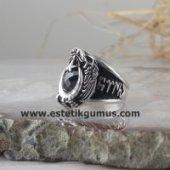 925 Ayar Gümüş Göktürkçe Türk Yazılı Kartal Simgeli Polis Yüzüğü-2
