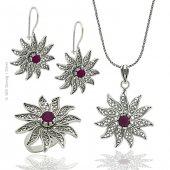 Gümüş Telkari Güneş Temalı Üçlü Set Takı