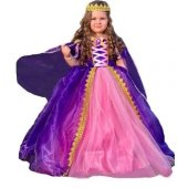 Rapunzel Kostüm - Taçlı Rapunzel Kostümü - Pelerinli Taclı Rapunz