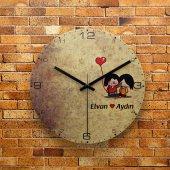Fmc1384 Sevgililer Gününe Özel Mdf Ahşap Duvar Saati 39cm