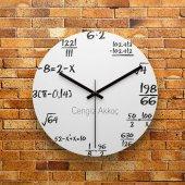 Fmc1363 Matematik Öğretmenine Hediye Mdf Ahşap Duvar Saati 39cm