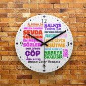 Fmc1262 Anneler Gününe Özel Anne Sözleri Mdf Duvar Saati 39cm