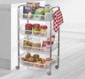 4 Katlı Tekerlekli Mutfak Sepeti Sebze Sepeti Çok Amaçlı Sepet
