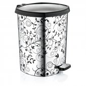 Sarmaşık Metalize Desenli Çöp Kovası Köşeli & Pedallı 20 Lt 39 Cm
