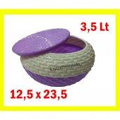 Kapaklı Yuvarlak Ekmek Sepeti Ekmek Ve Kurabiye Sepeti 3,5 Lt