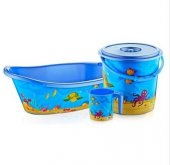 Bebek Banyo Küvet Seti Küvet Takımı 4 Parça 3 Renk