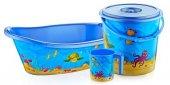 Bebek Banyo Küvet Seti Küvet Takımı 4lü Set 5 Parça 5 Renk Desen