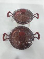 Taç Döküm Granit 2 Li Sahan Seti 3228 Bordo 20 Cm Ve 22 Cm Cam