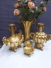 Polyester Şamdan Vazo Gondol Gold Altın Salon Aksesuarı