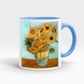 Van Gogh baskılı içi ve kulpu renkli kupa