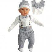 Ayıcık Askılı Papyonlu Lacivert 5 Li Erkek Bebek Hastane Çıkış Seti