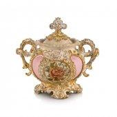 Porio Pr58 1031 Altın Pembe Çiçek Desenli Kapaklı Şekerlik 25*25