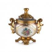 Porio Pr58 1042 Altın Çiçek Desenli Kapaklı Şekerl...