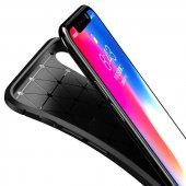 iPhone X Kılıf Pc Karbon Delüx Tpu Silikon Kahverengi + Temperli -2