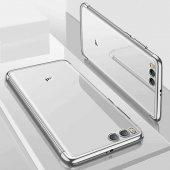Xiaomi Mi 6 Kılıf Dört Köşeli Lazer Silikon Gümüş + Temperli Ekra