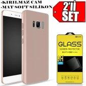 For Samsung Galaxy S8 Plus Kılıf Slim Fit Tpu Silikon Gold + Kırı