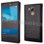 Huawei GT3 Kılıf Magnum Vip Pencereli Deri Siyah