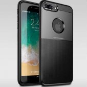 iPhone 8 Plus Kılıf Lüksige Tpu Soft Şık Siyah + Temperli Ekran K
