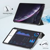 Eiroo Smart iPad Pro 11 Kapaklı Siyah Deri Kılıf-4