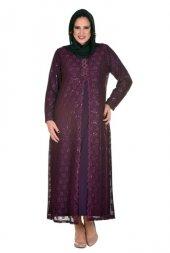 Femina Dilimli Dantel Büyük Beden Uzun Abiye Elbise 28814 M Mürdüm Lacivert Siyah