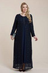 Femina Dilimli Dantel Büyük Beden Uzun Abiye Elbise 28814 L Lacivert Siyah Mürdüm