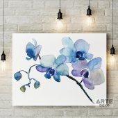Mavi Turkuaz Çiçek Kanvas Tablo