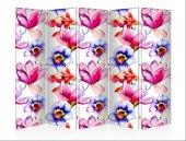 çiçekler Beş Kanat Kanvas Paravan