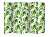 Yeşil Yapraklar Beş Kanat Kanvas Paravan