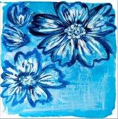 Mavi Çiçek Kanvas Tablo