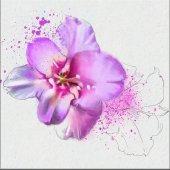 Lila Çizim Çiçek Kanvas Tablo