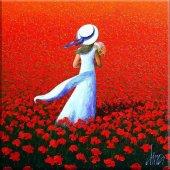 Beyaz Elbiseli Kız Kanvas Tablo