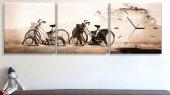 Bisiklet Üç Parçalı Kanvas Tablo Saat